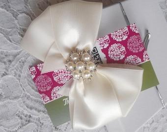 Ivory Satin Hair Bow with Rhinestone and Pearls Center, Ivory Flower Girl Hair Bow, Hair Bow, Pageant Hair Bows, Christmas Hair Bow