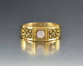 Antique Opal Ring   15K Gold Wedding Band Victorian Ring   Pearl Opal Wedding Ring   Antique Wedding Ring   Wide Opal Wedding Band Ring