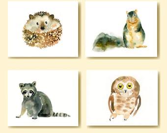 Set of 4 Woodland animal prints-owl-raccoon-squirrel-hedgehog-nursery wall art