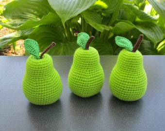 1pcs-Pear crochet Crochet fruit Amigurumi pear Baby gym Crochet food Amigurumi crochet Crochet toy Green pear  Baby crochet toys