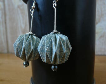 Origami dangle earrings light blue