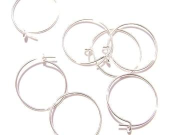 6731FD Earwire Silvertone Silver plated Brass 12mm. Earring Round Hoop, 20 Qty