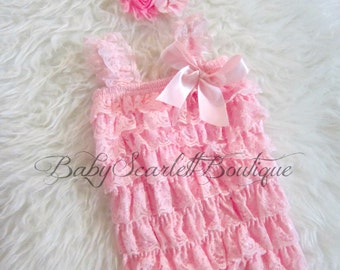 Pink Lace Petti Romper with Headband Set