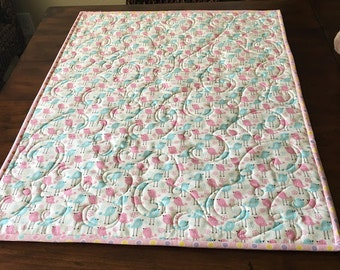 Stroller/Car Seat quilt in pink and blue birds