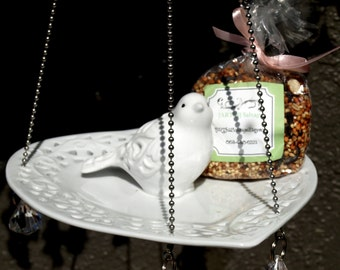 Glass Bird Feeder White Lacey Heart vintage repurposed hanging Ball Chain Prisms