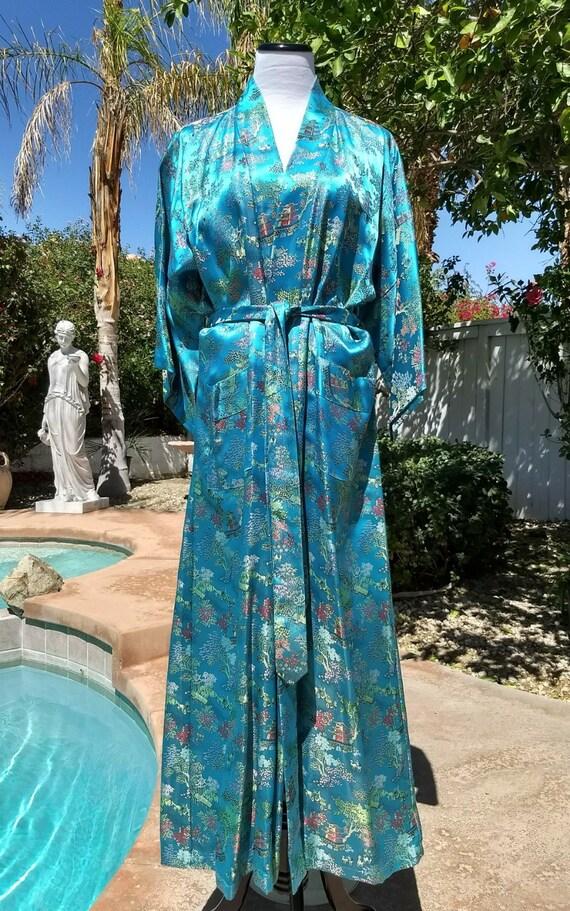 Peony Brand Vintage 80's Turquoise Brocade Chinese Kimono Style Robe, Evening Wrap,Size Large.