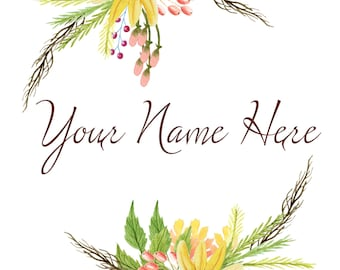 Premade Watercolor Floral Wreath Logo - Customized with Your Name
