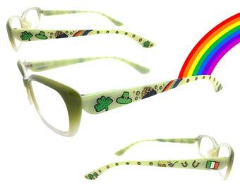 Women's Green 3.50 St. Patrick's Day Reading Glasses w/ Hand Painted Shamrocks, Leprechaun Hat, Pot of Gold, Rainbow, Irish Flag, Horseshoes
