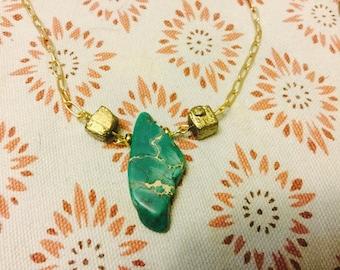 Green jasper pyrite brass necklace shorter chain handmade