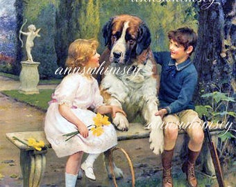 "Dog and Kids Art Restored Antique Art ""The Discussion""  #564"