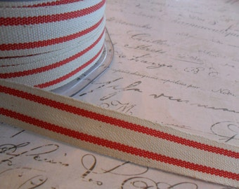 French Style Organic Cotton Natural and Red Stripe Ribbon 5/8 inch wide