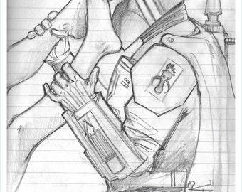Boba Fetish. Foot Fetish Star Wars fan art Sketchbook edition PRINT by Michigan artist Dennis A! featuring Boba Fett