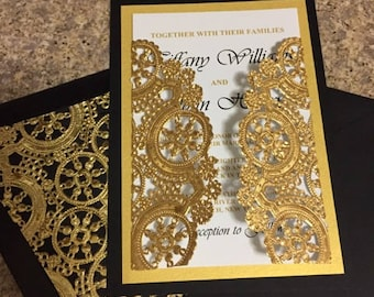 Black and Gold Wedding Invitation ****SAMPLE ORDER ONLY ****