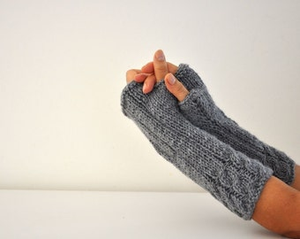 Knit Fingerless Gloves Arm Warmers Long Mittens Knitted Winter Accessories Winter Gray Grey