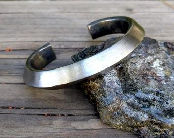 Titanium Pyramid Cuff Bracelet.  9.5 X 12.75 mm. Burnt and Brushed.