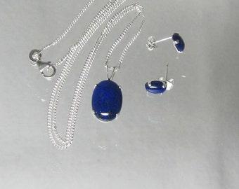 Lapis Lazuli Necklace - Lapis Lazuli Studs - Necklace & Earrings Set - Navy Blue Jewelry