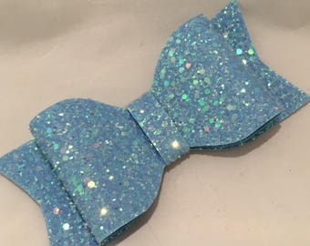 Handmade baby blue holographic  glitter hair bow