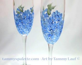 Hand Painted Blue Hydrangea Flutes, set of 2