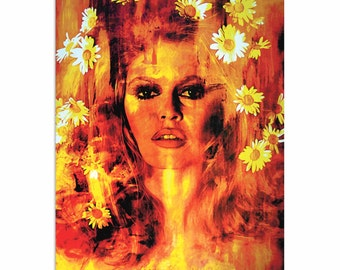 Pop Art 'Bridget Bardot Life Captured' by Artist Mark Lewis, Colorful Bridget Bardot Painting Limited Edition Giclee Print on Metal/Acrylic