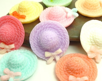 Hat Resin Cabochons - 6pcs - Assorted Colors, Flatback Cabs, Scrapbook Embellishments - 20x18mm - BP4