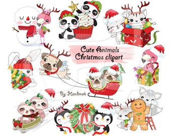 Cute Animals Christmas clipart instant download PNG file - 300 dpi