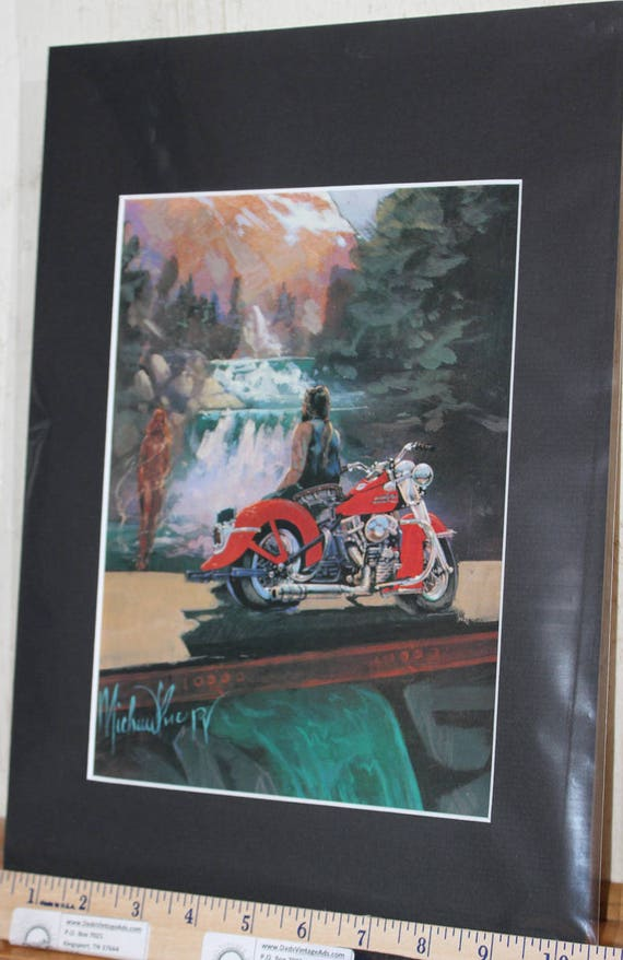 Easyriders ''Ride The Red Thunder'' by Michael Knepp Matted Motorcycle Biker Art #9308ezrmkm
