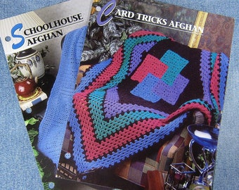 Two Annie's Crochet Quilt & Afghan Patterns, Card Tricks and Schoolhouse, loose crochet afghan patterns