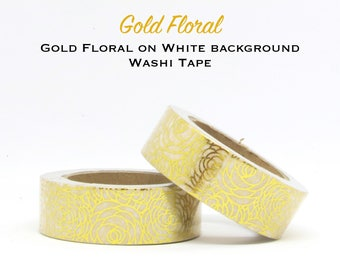 Gold Foil Flowers on White Background Washi Tape - Paper Craft - Scrapbooking - Gift Wrapping - Tape