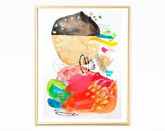 Modern colorful art, original abstract painting, boho wall art, dorm wall art, colorful abstract art, orange artwork, modern painting