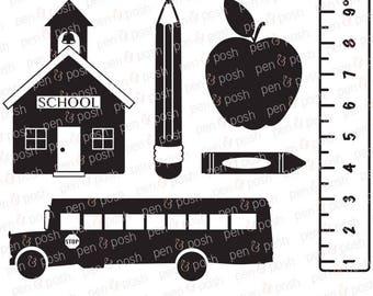 School SVG - Back to School  School House  Apple  Ruler SVG - Crayon SVG - Pencil  School Bus Svg