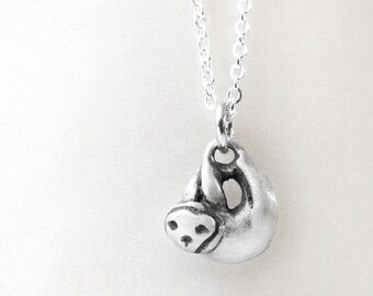 Sloth necklace, sterling silver sloth jewelry, very tiny sloth pendant necklace, eco friendly, gift for daughter, wife, girlfriend, coworker