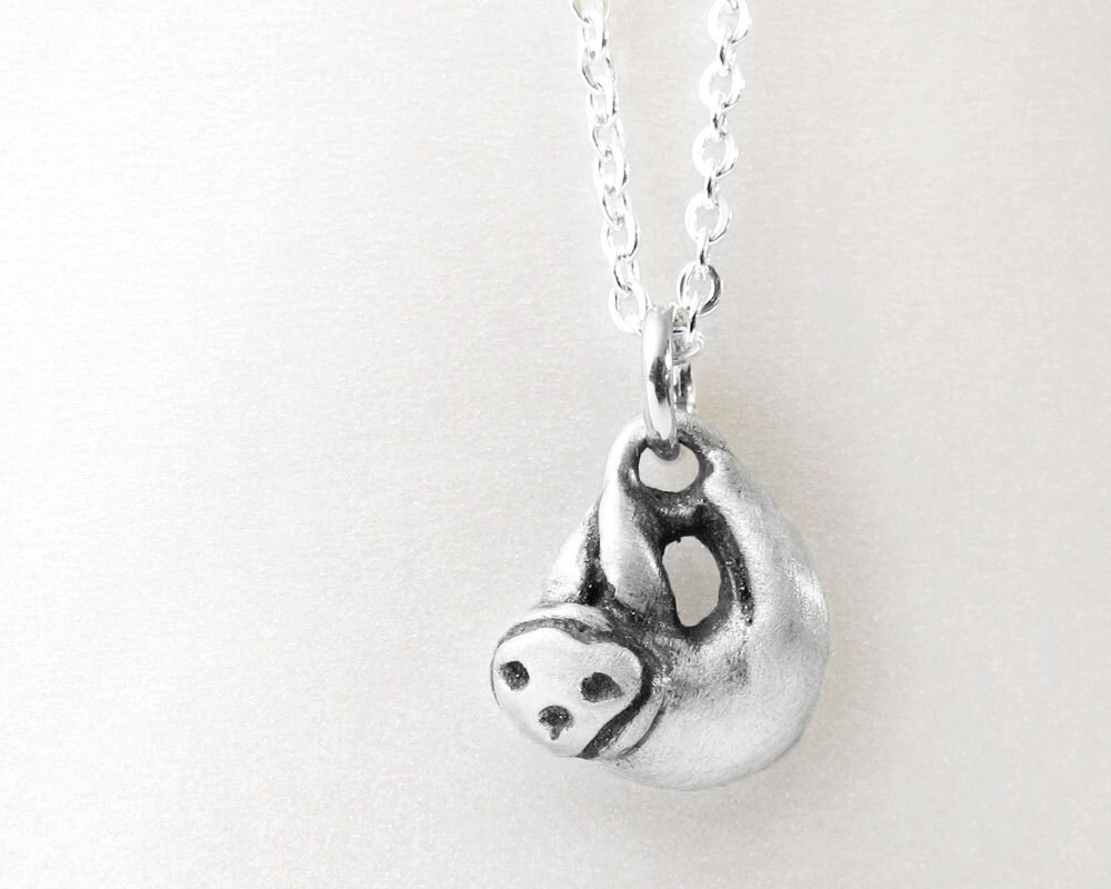 Sloth necklace sterling silver sloth jewelry very tiny sloth zoom aloadofball Gallery