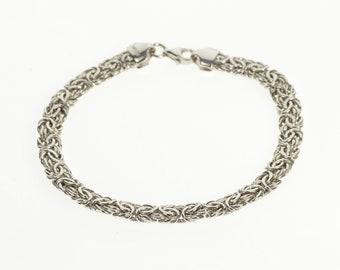 "18K 6.1mm Pressed Rounded Byzantine Link Chain Bracelet 7"" White Gold"