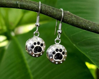 PawPrint and crystal drop earrings