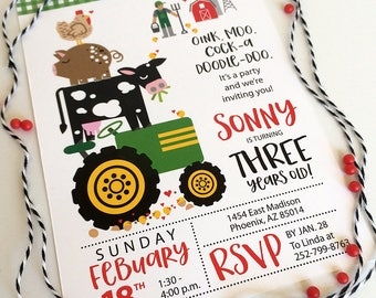 Farm, Animals, Tractor, Farmer Birthday, Party, Invitations, Girls, Boys