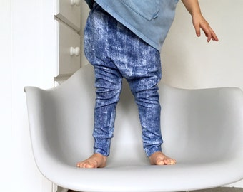 Distressed denim look harems / kids harem pants / scuba leggings / boys / toddler harem pants / harem leggings / hipster clothes  - skinny