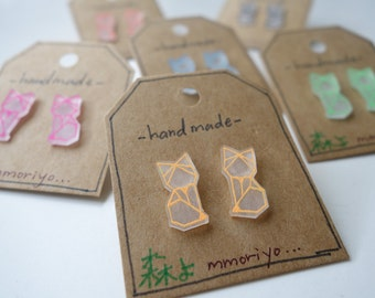 mmoriyo - Origami Fox Earrings - Studs - Shrink Plastic - Shrinky Dink