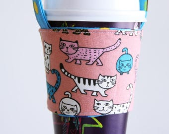 A77 Fabric coffee cup holder / Fabric coffee cozy / cup sleeve / drink sleeve / reusable coffee sleeve