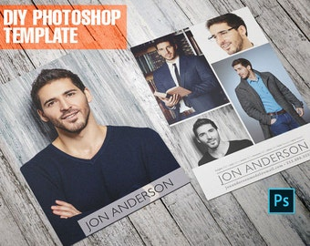 DIY Professional Model Comp Card - Zed Card - For Models and Actors - Photoshop Template
