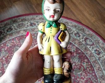 Hummel style vintage porcelain school girl with dog figurine