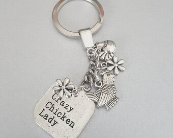 Crazy chicken lady keyring