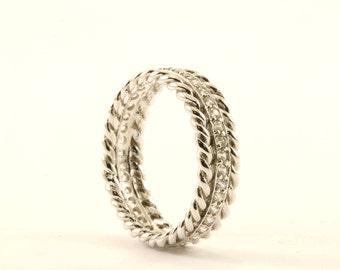 Vintage Crystal CZ Design Band Ring 925 Sterling RG 2442