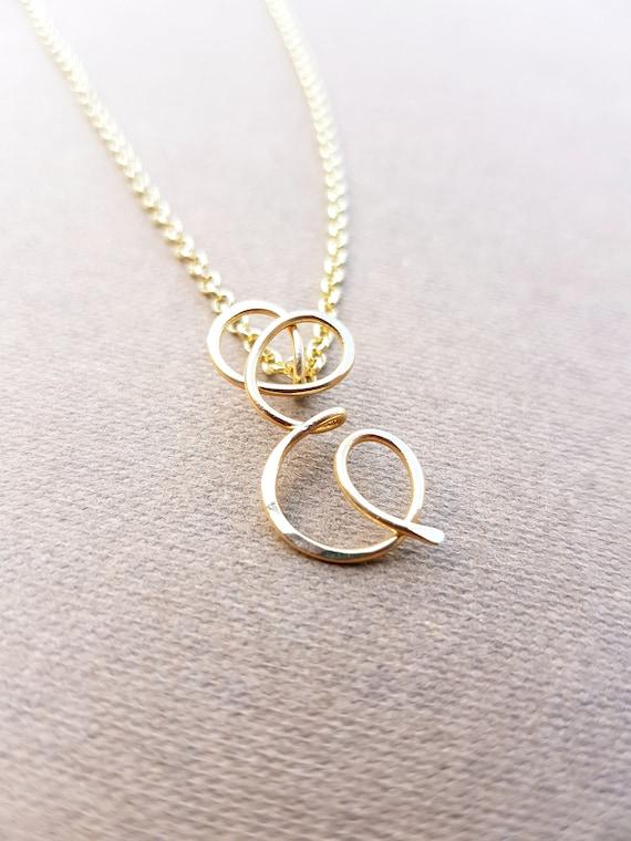E gold letter alphabet initial e necklace aloadofball Choice Image