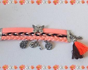 Boho neon pink cuff bracelet,  Ibiza flower charms and tassel bracelet,  6 > 9 years