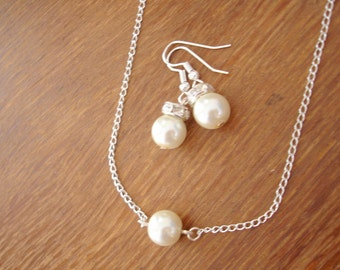 Single Pearl Earrings and Necklace Set - pearl bridesmaid gift jewelry - floating pearl necklace