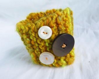 Chubby Cuff - Handspun, handknit cuff - bracelet, wrist warmer, punk wrist band, boho, button embellished, yellow, handspun wool, handdyed