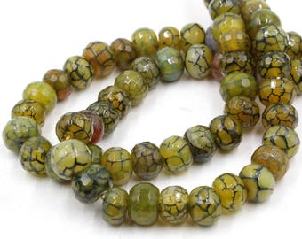 "11-12mm rondelle beads - 15"" strand green crazy lace agate loose beads"