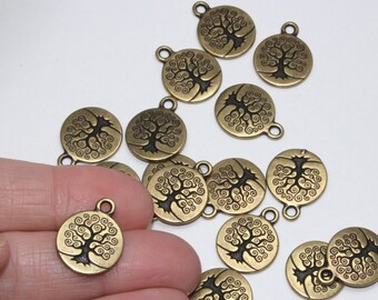 Tree of Life Charms, 2+ TierraCast Brass Oxide Plated, 15mm, Lead Free Pewter Pendants, Tierra Cast 15 mm Bodhi Family Tree