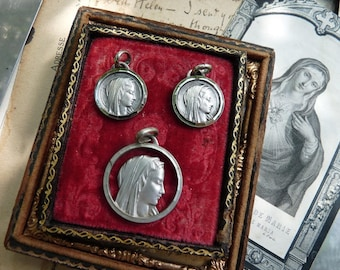 Antique French Virgin Mary Medallion Set, Ave Maria Sacred Heart, offered by RusticGypsyCreations