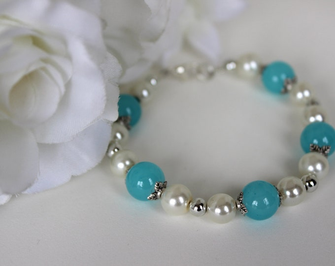 Sky Blue and Pearl Bridesmaids Bracelet.